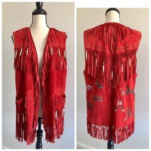 Patricia Wolf handpainted suede vintage vest
